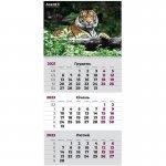 Календар настінний квартальний 2022 р., 1 пружина, Тигр (8801-02-a)