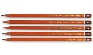 Олівець графітний 1500 KOH-I-NOOR. Твердість - B, шестигранна форма корпусу. Деревина - кедр, покриття - лак на водній основі. (1500 -хх)