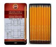 Набір графітних олівців 1500 KOH-I-NOOR Technic для технічних робіт, НВ-10Н, 12 шт. (1502-хх)