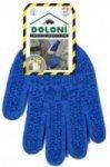 Перчатки  DOLONI синие трикотажные (2 нитки) с синим ПВХ рисунком (р.10, пара),  45509