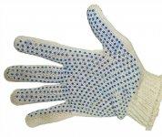 Перчатки 577 вязаные в 3 нити (ладошка в синюю точку, пара).  45513