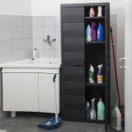 Шкаф 2-х дверный с полочками Elegance S,  65x38x87h cm, черный,  Toomax