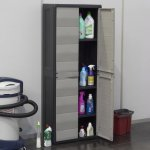 Шкаф 2-х дверный с полочками Elegance S, 65x38x87h cm, черный/тепло-серый,  Toomax