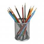 Подставка для ручок круглая, металлическая сеточка. Размер 80х80х100мм. Цвет: серебристый.  2110-03-A