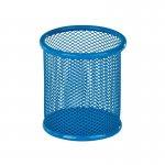 Подставка для ручок круглая, металлическая сеточка. Размер 80х80х100мм. Цвет: голубой.  K17-2110-07