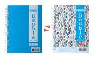 Книга записна DOUBLE, А6, 96 арк., клітинка, тверда ламінована обкладинка, блакитна/райдужна (BM.24671101-14)