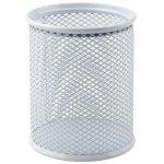 Подставка для ручек круглая, металлическая сеточка. Размер 80х80х100мм. Цвет: белый. (2110-21-a)