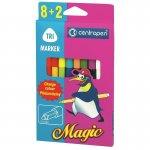Набор фломастеров 2549 Magic, след чернил меняет цвет при прорисовке поглотителем, 8+2=16 цветов, не высыхают без колпачка до 10 дней, круглый корпус с эргономичной зоной захвата, круглый пишущий узел, ширина линии 1,8 мм (2549/10)