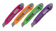 Нож канцелярский, 18мм. Ассорти цвета. Упаковка дисплей. (6402-a)