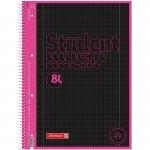 Колледж-блок А4 Premium, клет. 80 л., Black Neon, розовый (10 673 28 97)