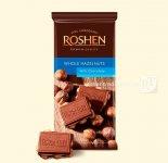 Шоколад Roshen молочний з цілим лісовим горіхом 90г (0146338)