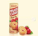 Печиво-сендвіч Multicake з начинкою малина-крем Roshen 195г (0149318)
