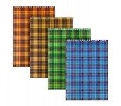 Блокнот на спіралі зверху, м'яка картонна обкладинка. Формат - А5, 48 аркушів у клітинку. Асорті кольорів: помаранчевий, жовтий, зелений, синій. Упаковка запайка. (d8012-01)