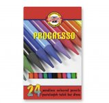 Кольорові бездеревні художні олівці PROGRESSO, 24 кольори. Картонна упаковка з пластиковим піддоном. (875802)