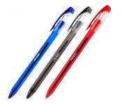 Ручка гелева зі швидковисихаючим чорнилом. Тригранний пластиковий корпус. Рельєфна зона захвату. Колір корпусу відповідає кольору чорнила. Пишучий вузол 0,5 мм. Колір чорнила: синій, червоний, чорний (ux-130-хх)