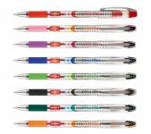 Набір кулькових ручок з напівпрозорим пластиковим корпусом. Чорнило підвищеної в